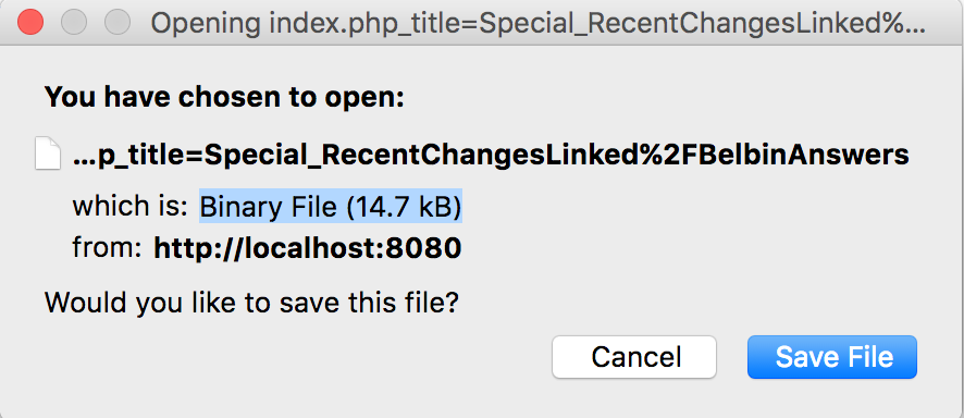 Dialog box indicating server thinks files are binary