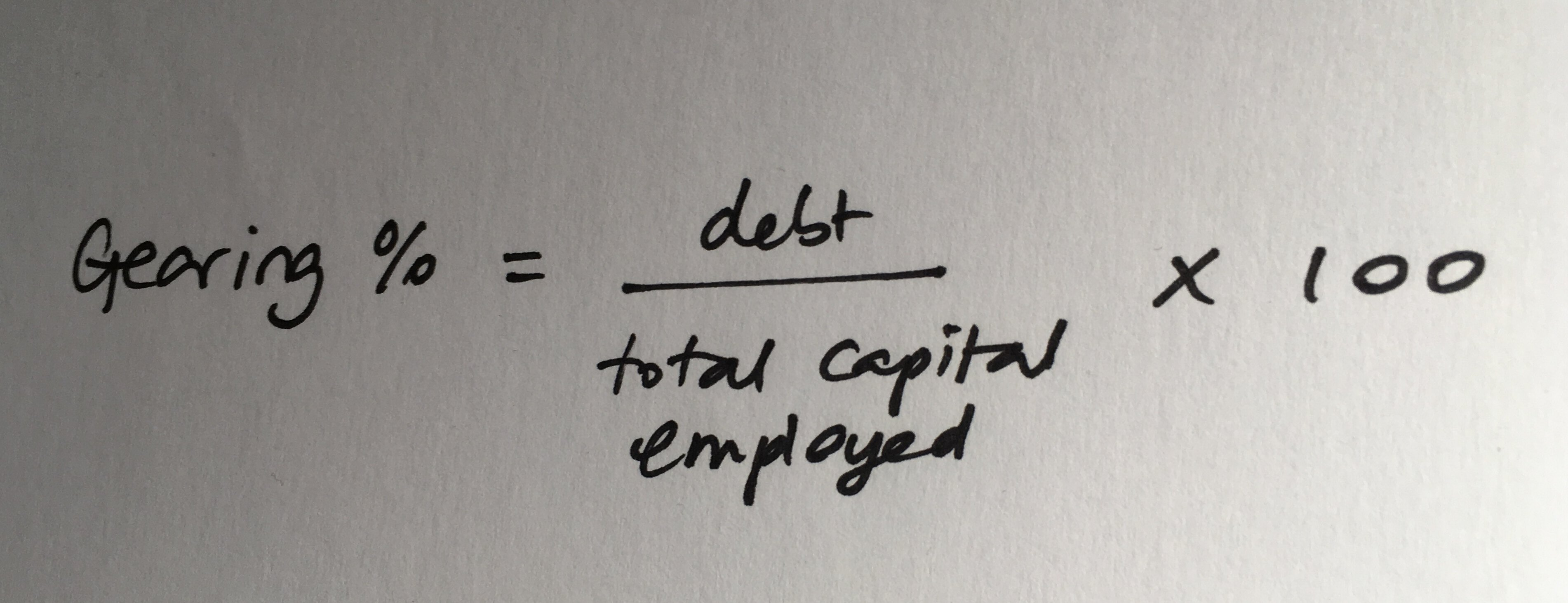 Gearing % = debt/total capital employed x 100