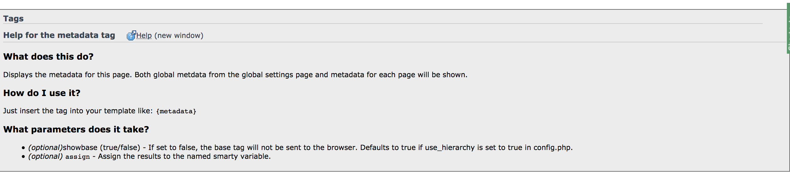 Documentation about the metadata tag