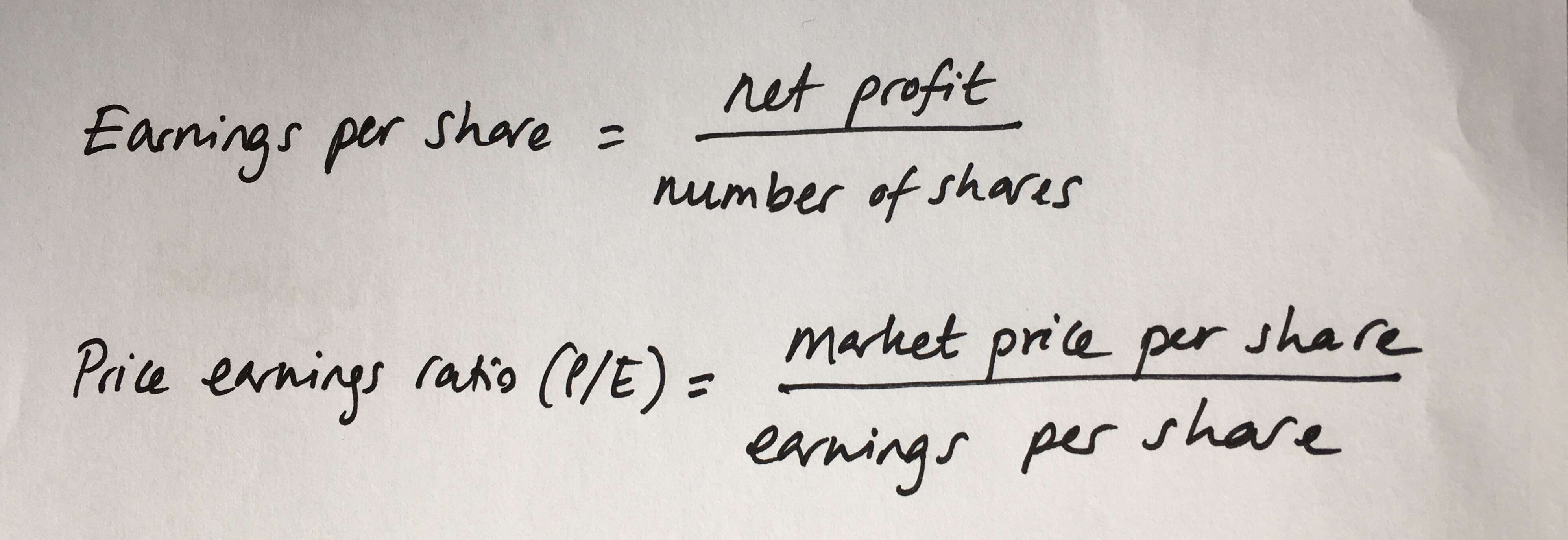 earnings per share and P/E ratio calculations
