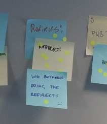 redirector post-it gets lots of votes at retrospective